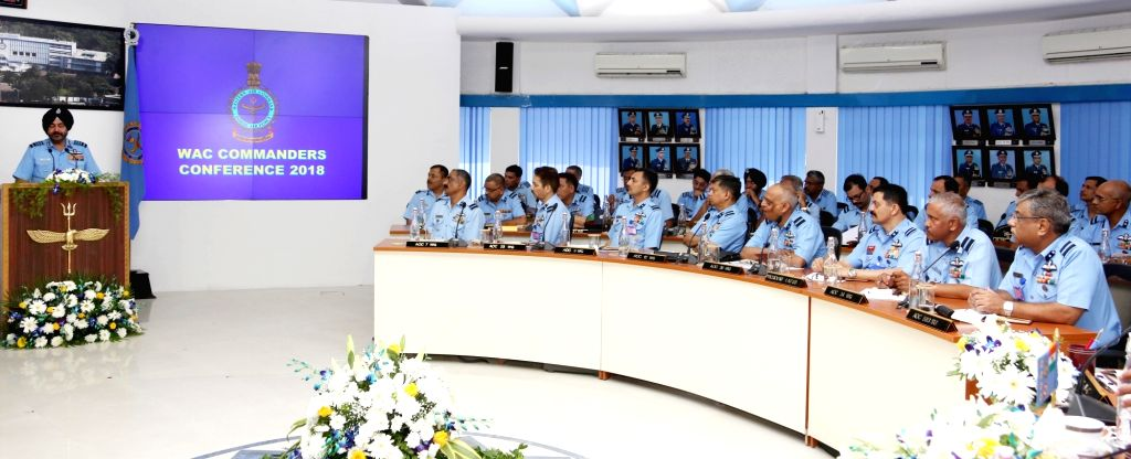 IAF chief Air Chief Marshal B.S. Dhanoa addresses the Commanders of Western Air Command during the WAC Station Commanders' Conference: 2018, at HQ Western Air Command, in New Delhi on Nov. ...