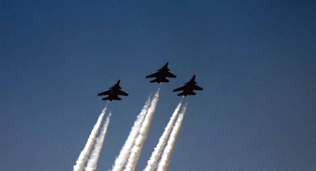 IAF jets flypast Rajpath during the 71st Republic Day parade, in New Delhi on Jan 26, 2020.