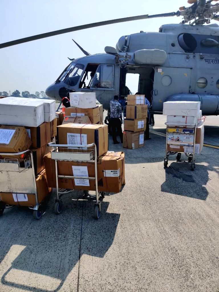 IAF lifts personnel, 3500 kg of medical equipment of ICMR from Chennai to Bhubaneshwar.