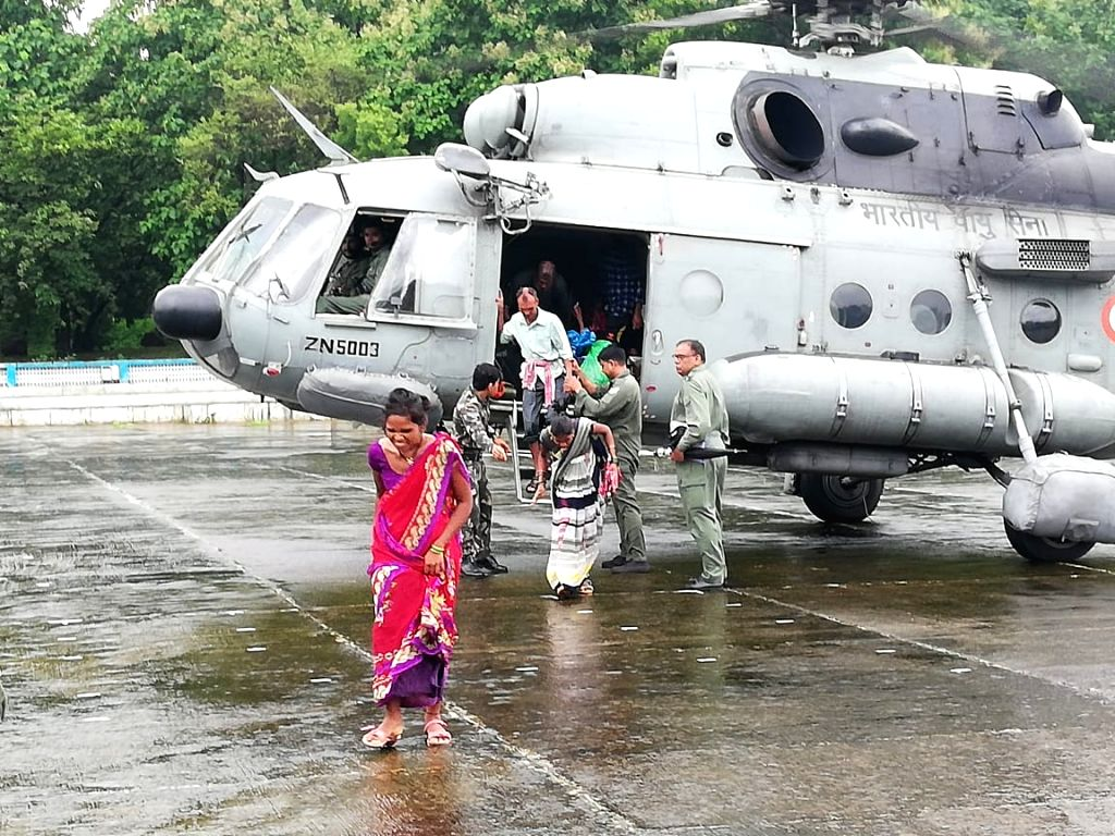 IAF Mi17 returned back to Santacruz airfield after relocating a total of 58 personnel including 16 children to safety, in Mumbai.