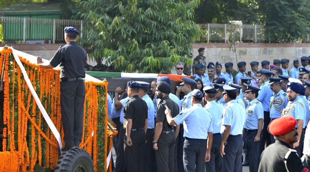 IAF officers during the state funeral of Marshal of the Indian Air Force (IAF) Arjan Singh at Brar Square in New Delhi on Sept 18, 2017. - Arjan Singh