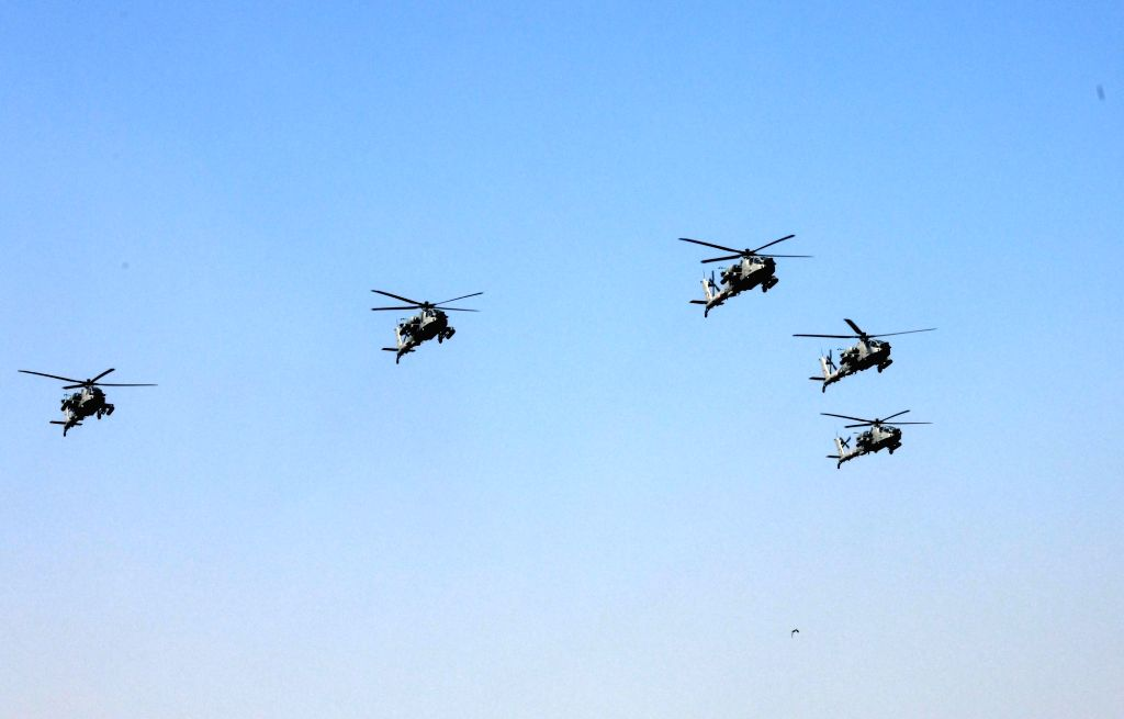 IAF's Apache helicopters flypast Rajpath during the 71st Republic Day parade, in New Delhi on Jan 26, 2020.