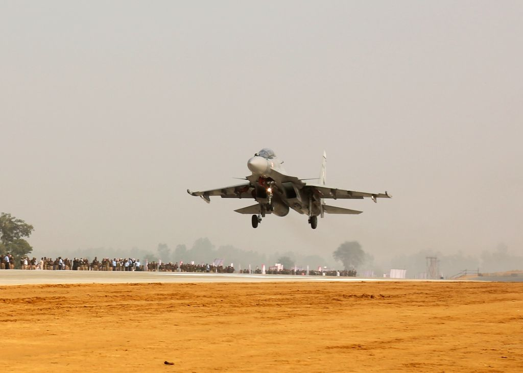 IAF's Sukhois carried out a 'touch and go' during an exercise to land jets on the newly constructed Agra-Lucknow Expressway on its opening at Unnao, around 50 km from Lucknow on Nov 21, 2016. ...
