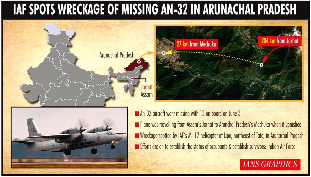 IAF spots wreckage of missing AN-32 in Arunachal Pradesh.