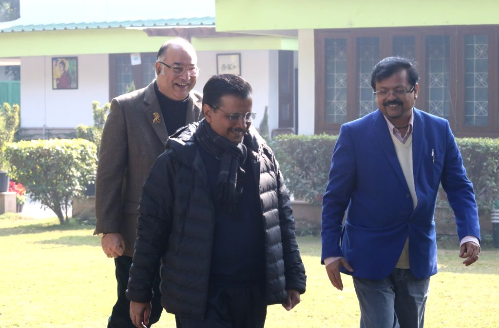 IANS leadership team of Sandeep Bamzai and Deepak Sharma with Delhi Chief Minister Arvind Kejriwal during an exclusive interview with IANS, in New Delhi on Feb 6, 2020. - Arvind Kejriwal and Deepak Sharma