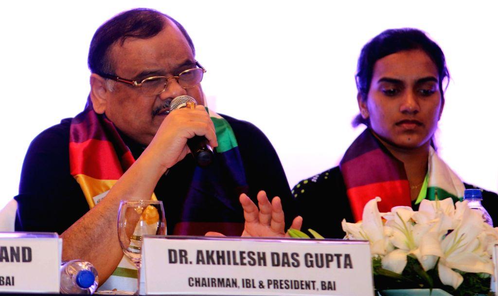 IBL Chairman and BAI President Akhilesh Das Gupta addresses during a press conference to announce the IBL-2 session in New Delhi on Oct 29, 2015. Also seen badminton player P V Sindhu. - Akhilesh Das Gupta