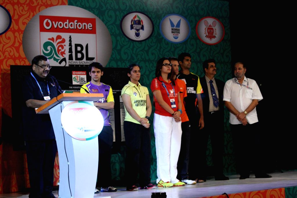 IBL players during the opening ceremony of the badminton league in New Delhi on August 14, 2013..(Photo :::IANS)