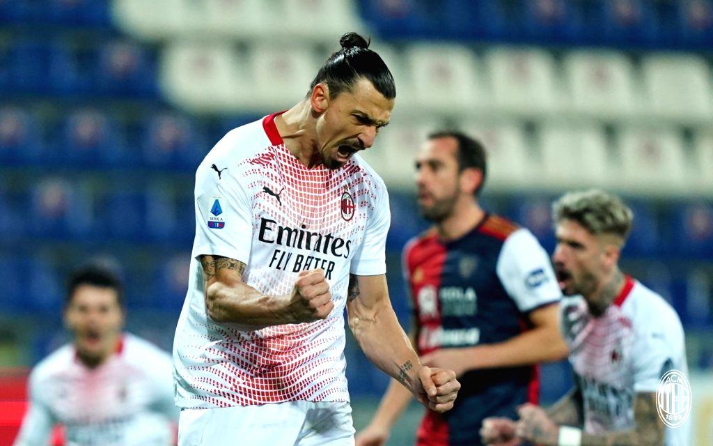 Ibra's brace inspires 10-man Milan past Cagliari in Serie A (Credit:@acmilan/twitter)