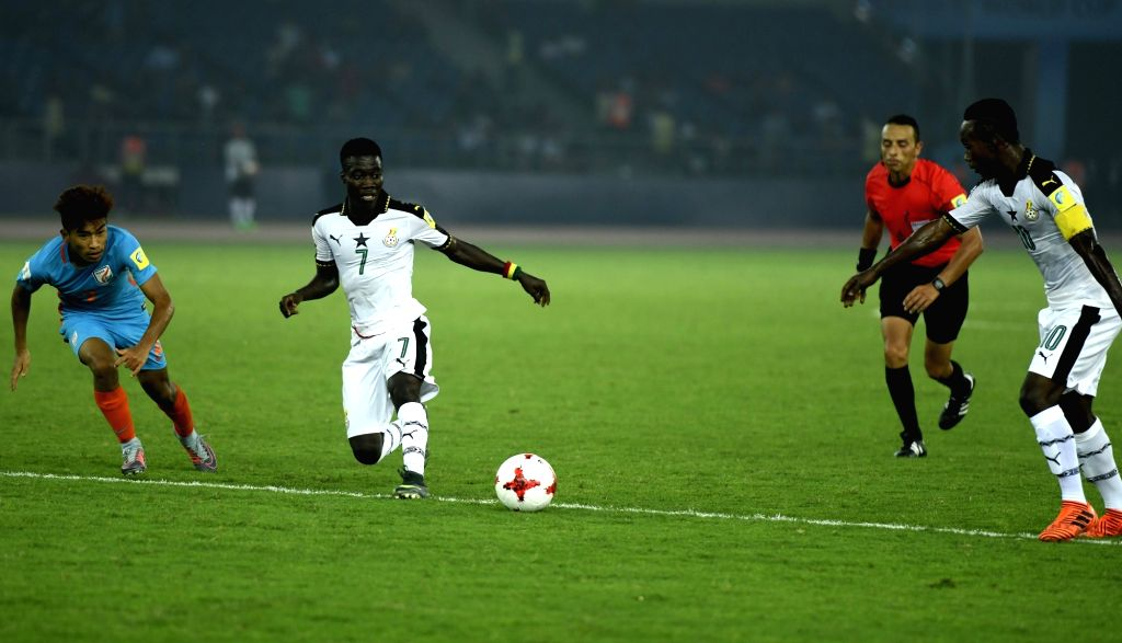 Ibrahim Sulley (White Jersey No-7) of Ghana in action during a FIFA U-17 World Cup Group A match between India and Ghana at Jawaharlal Nehru Stadium in New Delhi on Oct 12, 2017.