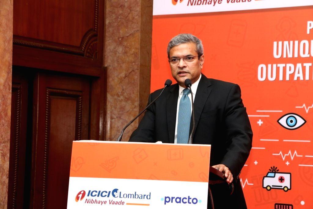 ICICI Lombard General Insurance Bhargav Dasgupta during a press conference in New Delhi on Jan 24, 2018.