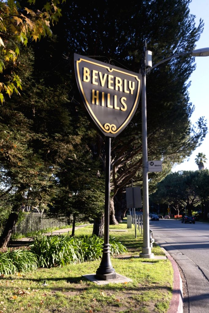 Iconic sign for the town of Beverly Hills, an affluent city in Los Angeles County, California, surrounded by the City of Los Angeles.