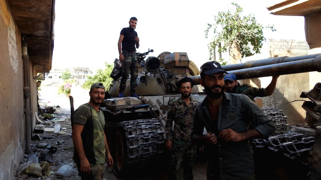 IDLIB (SYRIA), Aug. 15, 2019 Syrian military personnel are seen at a Syrian military site in the southern countryside of Idlib province, northwestern Syria, on Aug. 15, 2019. The Syrian ...