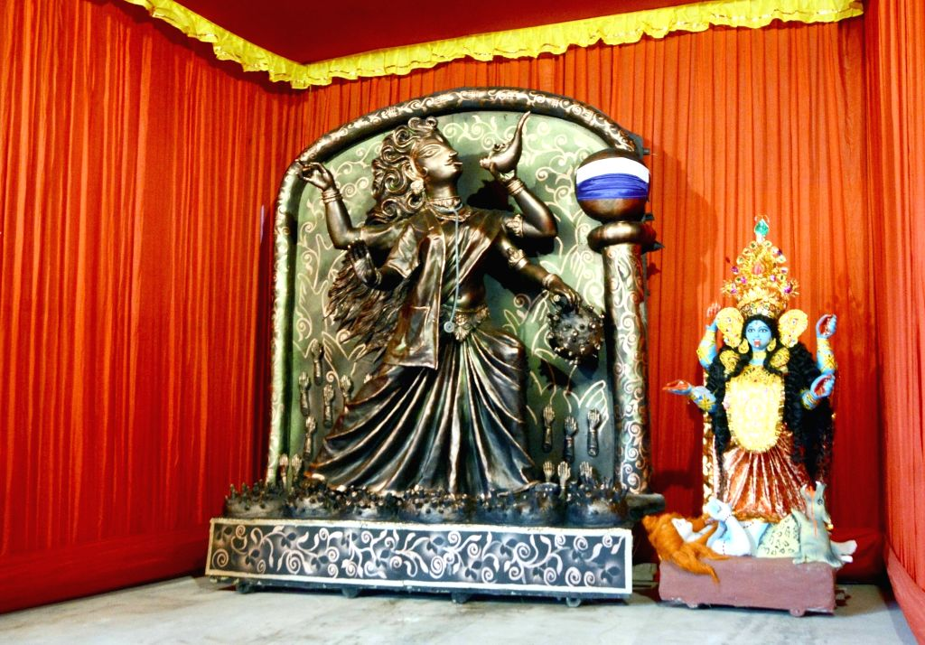 Idols of Goddess Kali at a puja pandal during Kali Puja celebrations, in Kolkata on Nov 14, 2020.