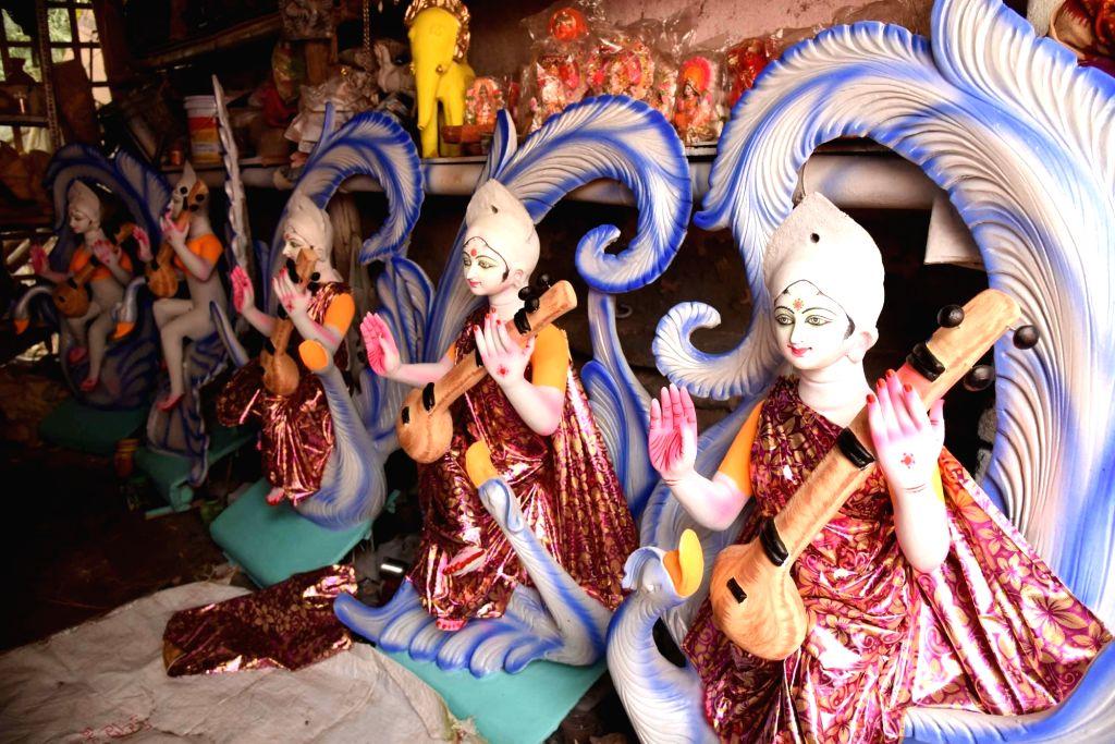 Idols of Goddess Saraswati at a workshop ahead of Saraswati Puja celebrations, in Patna on Jan 28, 2020.