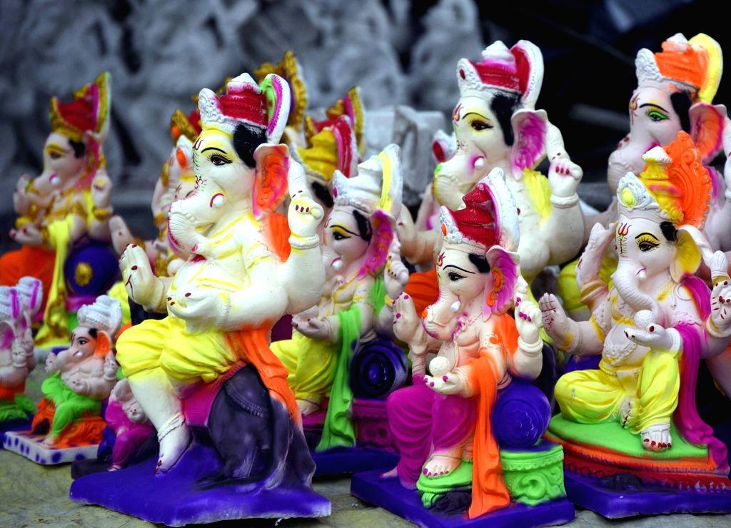Idols of Lord Ganesh on sale ahead of Ganesh Chaturthi celebrations, in Patna on Aug 14, 2020.
