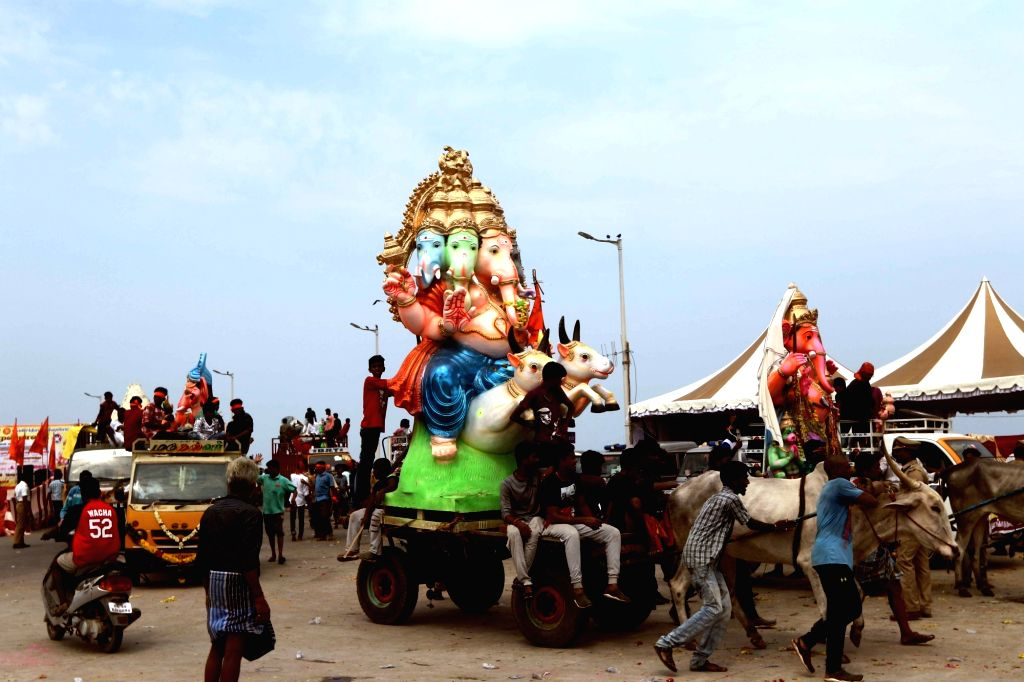 Idols of Lord Ganesha being taken for immersion, in Chennai on Sept 16, 2018.