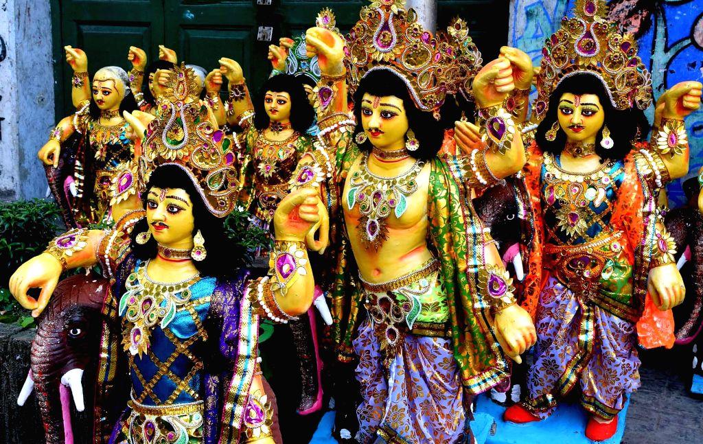 Idols of Lord Vishwakarma displayed for sale ahead of Vishwakarma Puja in Kolkata on Sept 16, 2017.