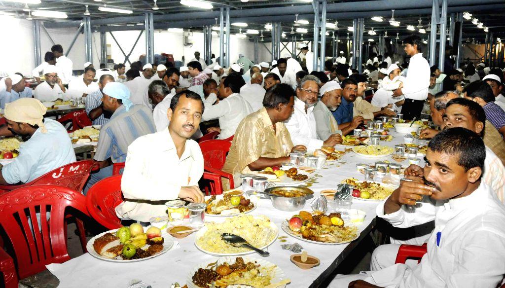 Iftar party at Bihar Chief Minister Jitan Ram Majhi's residence in Patna on July 23, 2014. - Jitan Ram Majh
