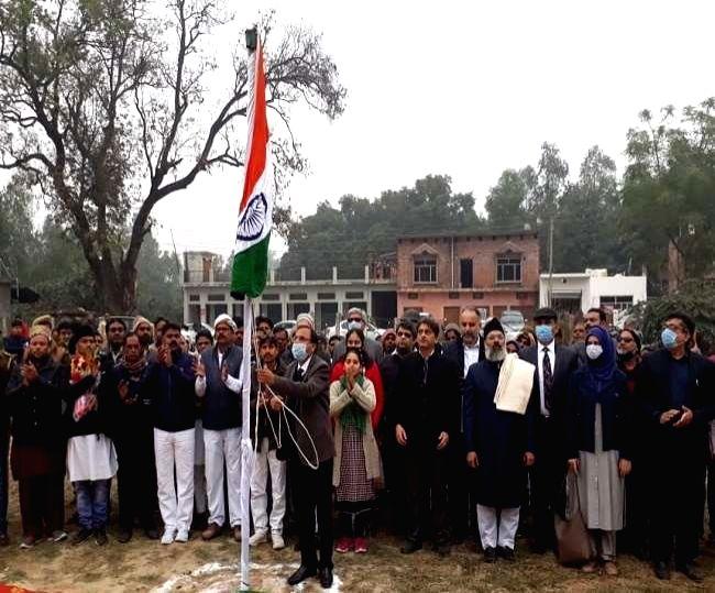 IICF members begin process of mosque building in Ayodhya after unfurling tricolor.