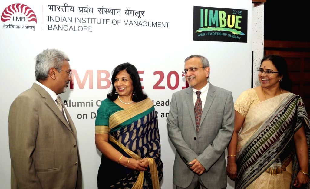 IIMBUE 2015 Convenor Harish Mittal, Chairman of Biocon India Limited Dr. Kiran Mazumdar Shaw, Director of IIMB Dr. Sushil Vachani during a press conference regarding IIMBUE 2015 in ...