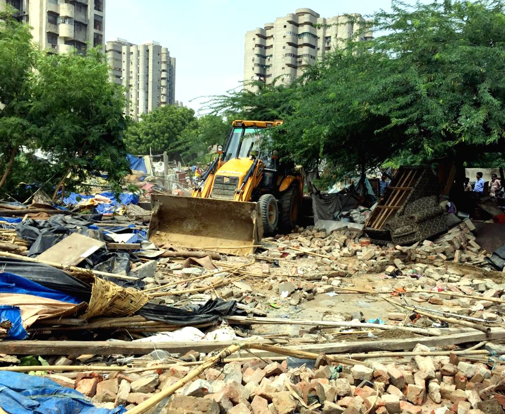 Illegal residential colony demolished in Ghaziabad. (Photo: IANS)