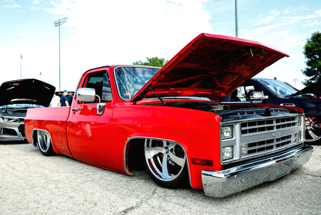 ILLINOIS, Aug. 11, 2019 - Photo taken on Aug. 10, 2019 shows a lowered pick-up during an auto fair in Cicero, Illinois, the United States. Hundreds of the exotic cars, lowriders, old school muscle ...