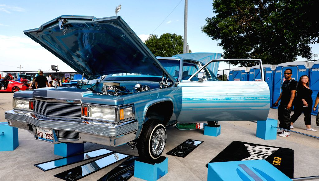 ILLINOIS, Aug. 11, 2019 - Photo taken on Aug. 10, 2019 shows a Cadillac during an auto fair in Cicero, Illinois, the United States. Hundreds of the exotic cars, lowriders, old school muscle cars, ...