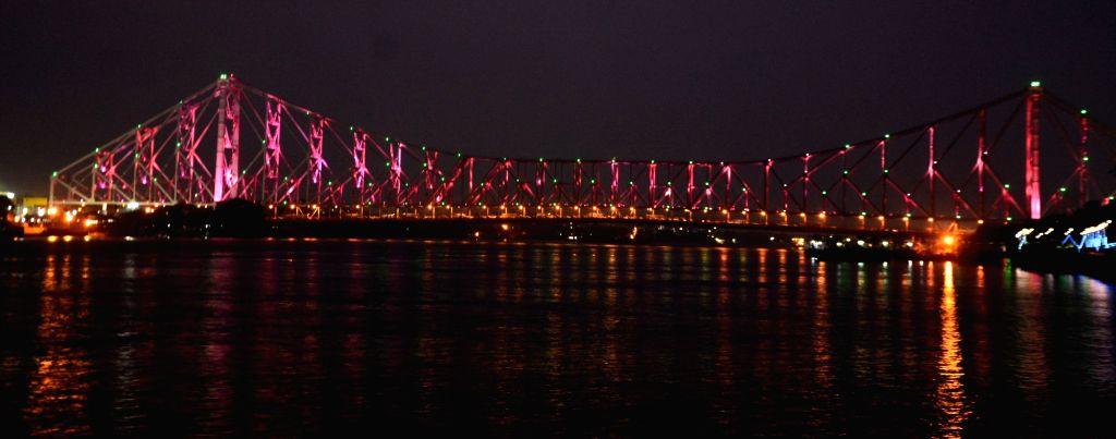 Illuminated Howrah Bridge for Mohun Bagan, I-League champion in Kolkata on October 18, 2020.