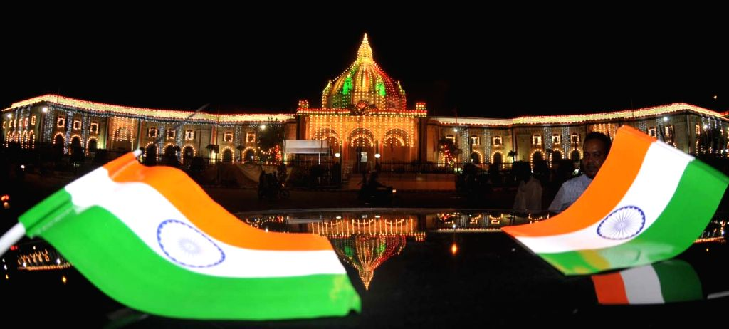 Illuminuted Uttar Pradesh Vidhan Sabha on the eve of the Independence Day in Lucknow, on Aug 14, 2015.