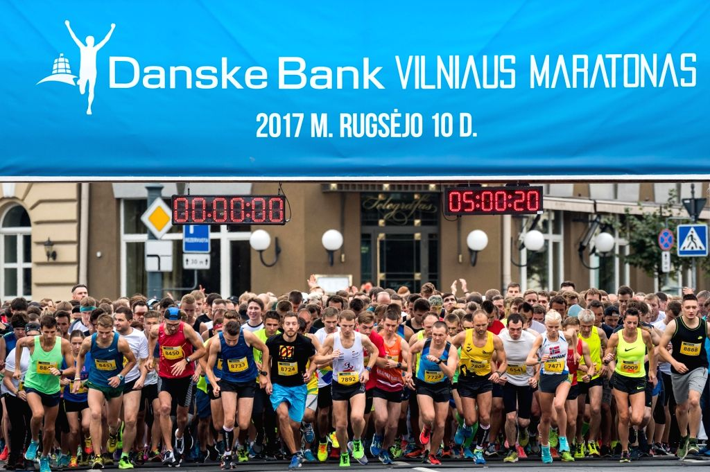 ILNIUS, Sept. 11, 2017 - Runners start off during the Vilnius Marathon 2017 in Vilnius, Lithuania, Sept. 10, 2017. Around 15,000 runners from more than 50 countries and areas attended Vilnius ...