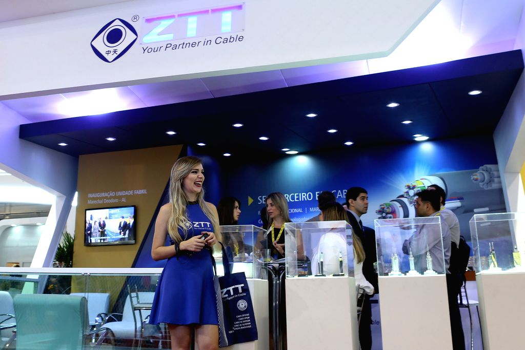 "Image taken on Oct. 28, 2015 shows the stand of the Chinese company ZTT during the ""Futurecom 2015"", in Sao Paulo, Brazil. According to local press, ..."
