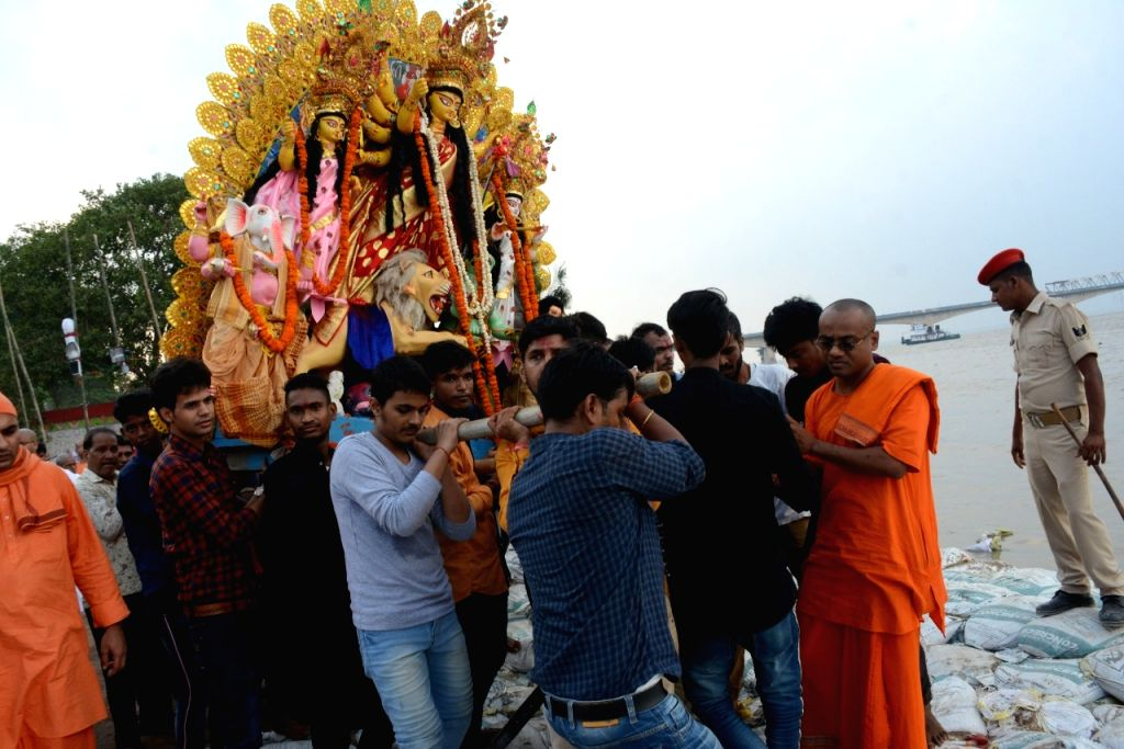 Immersions of idols of goddess Durga underway in Patna on Oct 8, 2019.