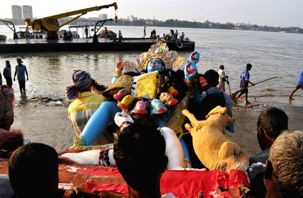 Immersions of idols of goddess Kali underway in Kolkata on Oct 28, 2019.