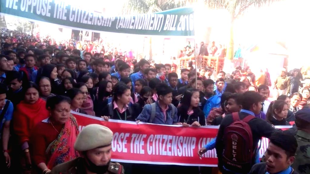 Imphal: Students participate in a protest march to press for scrapping of the Citizenship (Amendment) Bill in Imphal, on Jan 15, 2019. (Photo: IANS)