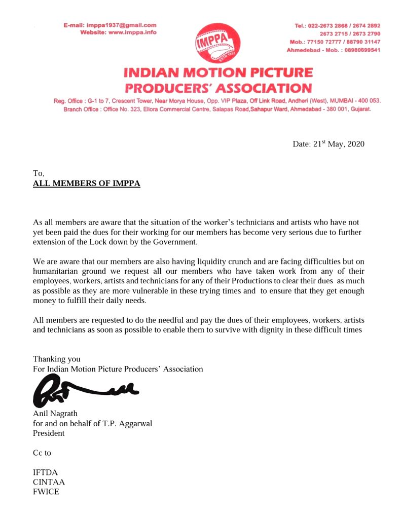 IMPPA urges members to clear dues of artistes, technicians, workers.