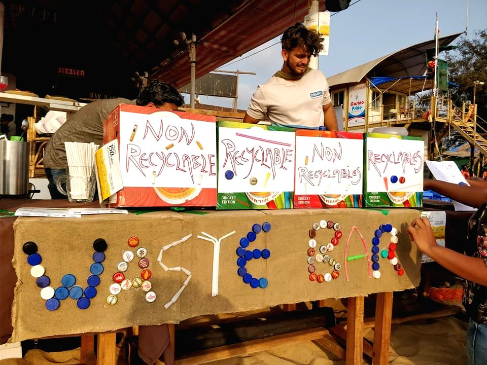 In an innovative green initiative, this waste-bar at popular Baga beach in Goa exchanges beer bottle caps, used cigarette butts and plastic straws for a beer.