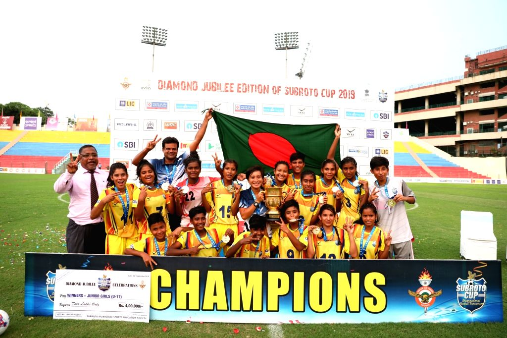 In the final of U17 Girls SubrotoCup International Football Tournament, Bangladesh Krida Shiksha Prothishtan successfully defended their title by defeating Nilmani English School, Manipur by a score ...