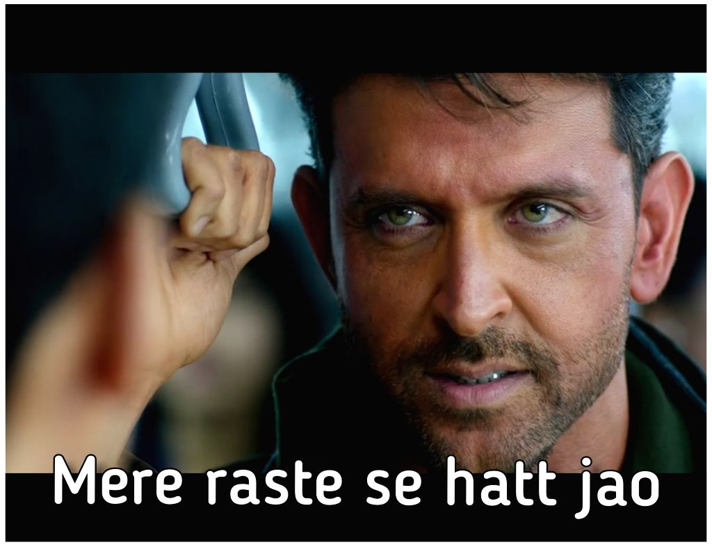 """In the trailer of upcoming movie  """"War"""" Hrithik  is seen saying, """"Mere raaste se hat jao"""". This dialogue has inspired social media users to make memes and target Salman Khan over his hit-and-run case. - Salman Khan"""
