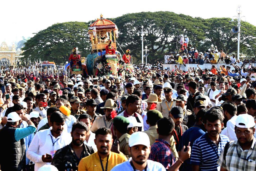 Inauguration of Dasara procession underway in Mysuru on Oct 8, 2019.