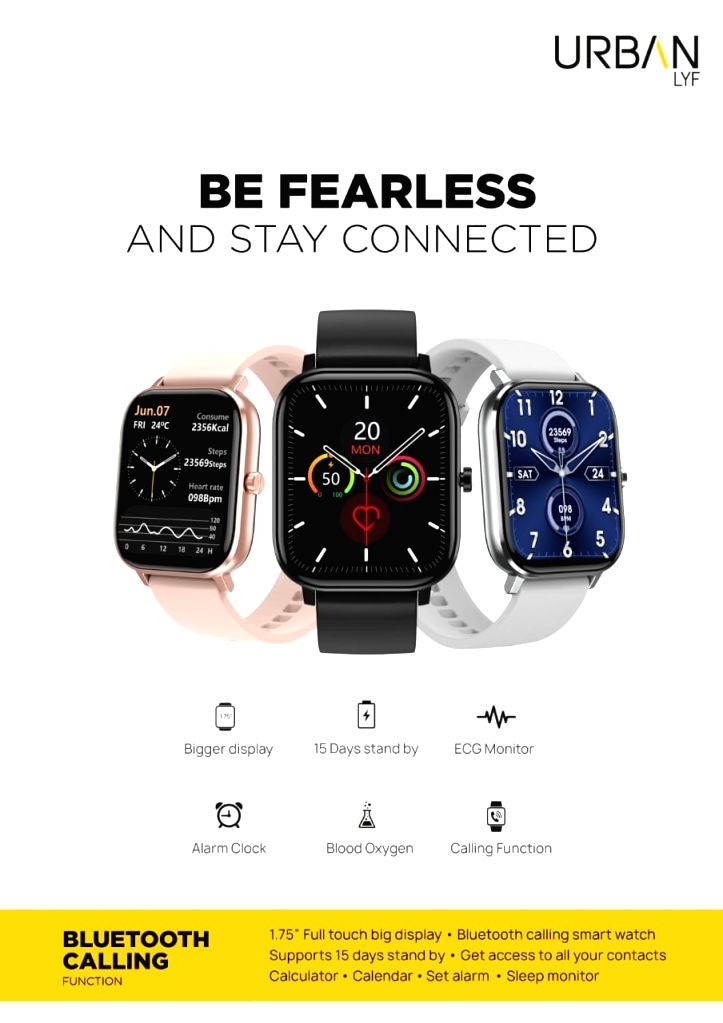 """InBase launches new """"Urban Life"""" smartwatch with bluetooth calling feature and 1.75 inch full touch display."""