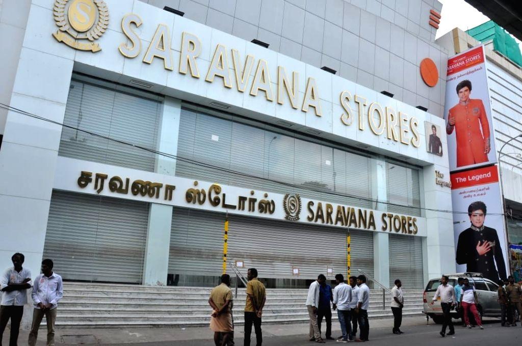 Income Tax (IT) raids underway at a Saravana store in Chennai, on Jan 29, 2019.