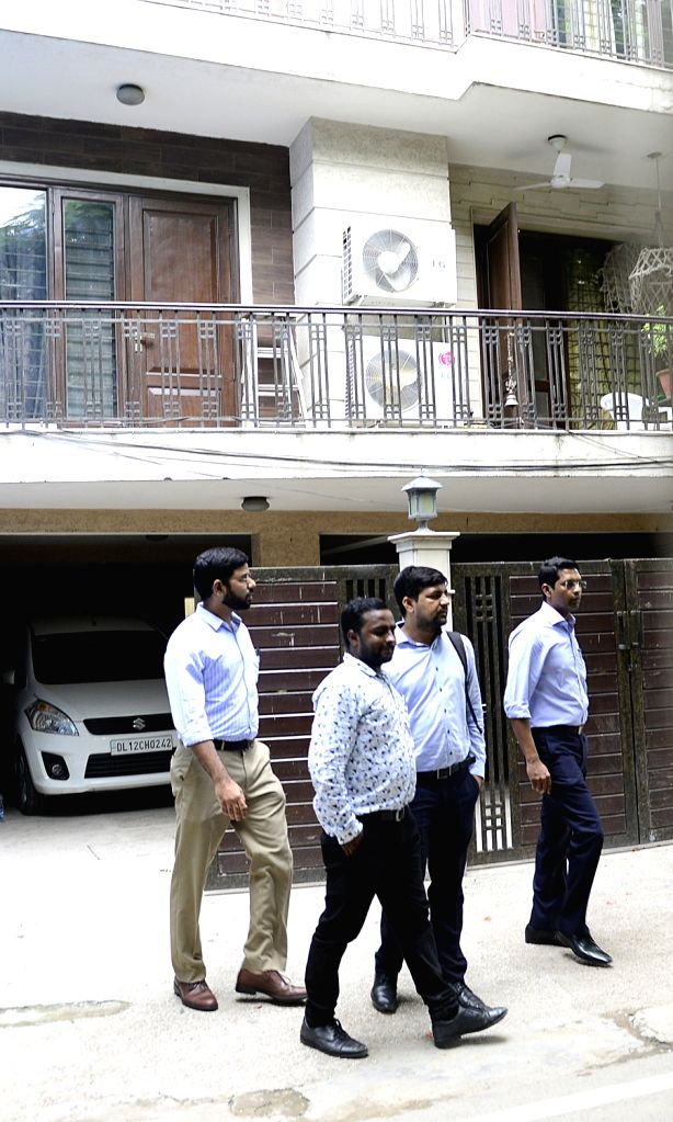 Income Tax (IT) sleuths conduct raids at Karnataka Power Minister D.K. Shivakumar's residence in New Delhi, on Aug 2, 2017. - D.