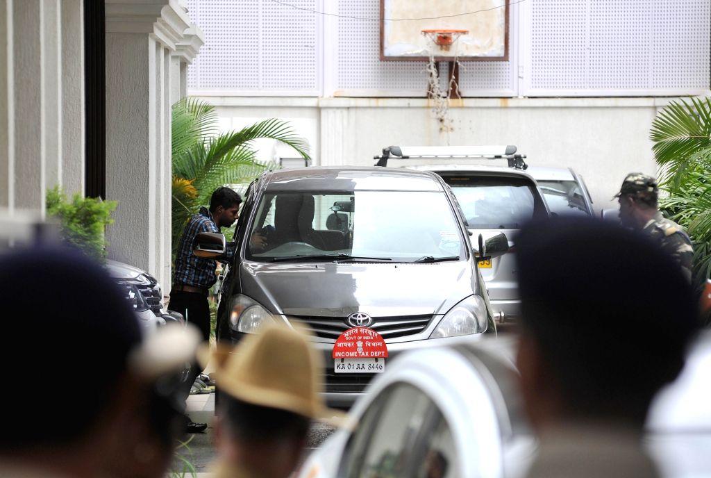 Income Tax (IT) sleuths conduct raids at Karnataka Power Minister D.K. Shivakumar's residence in Bengaluru on Aug 4, 2017. - D.