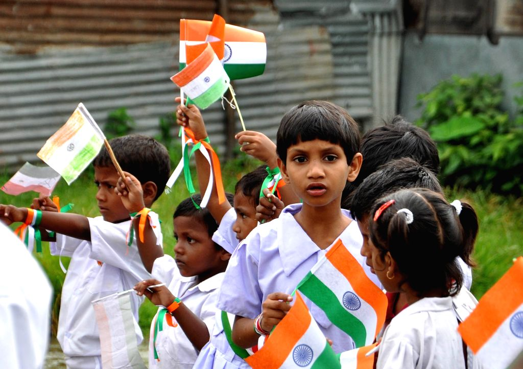 Independence Day celebrations underway at a Kolkata school on Aug 15, 2015.