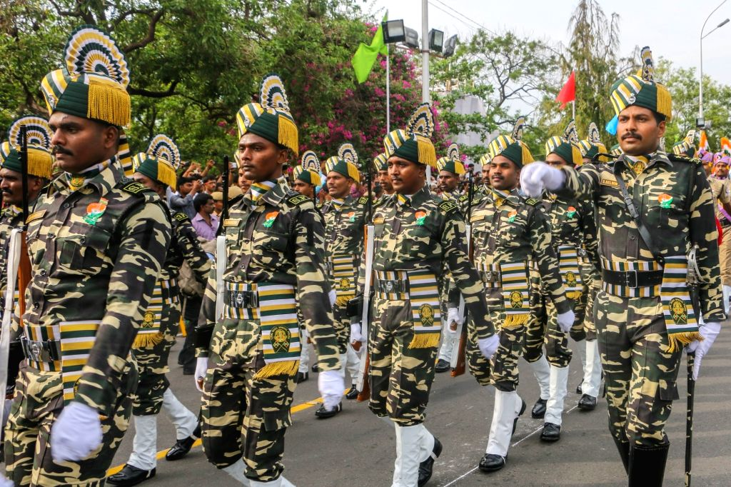 Independence Day parade underway in Chennai on Aug 15, 2017.