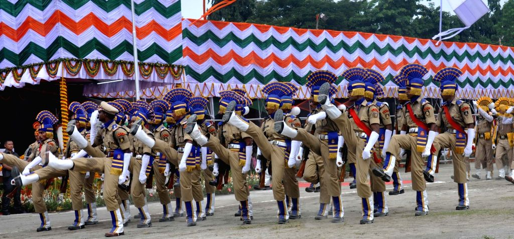 Independence Day parade underway in Guwahati on Aug 15, 2016.