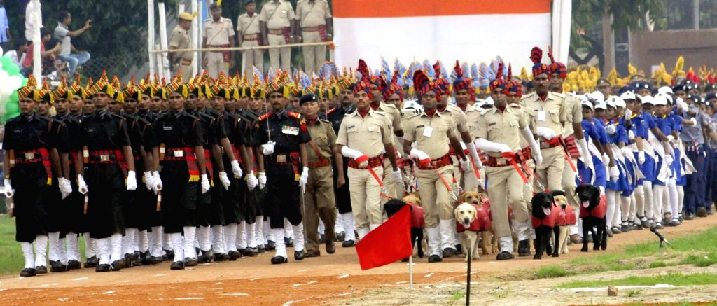 Independence Day parade underway in Patna on Aug 15, 2016.