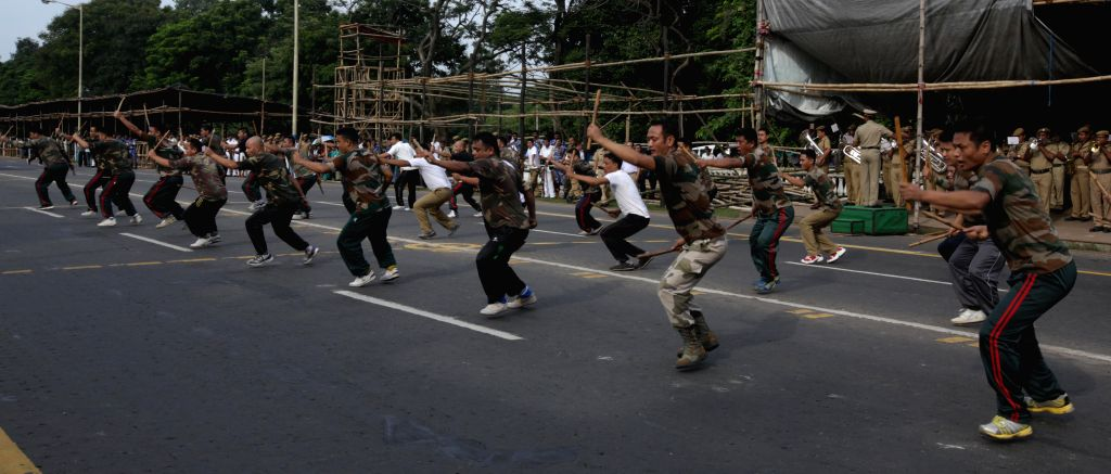 Independence day rehearsals underway at Red Road in Kolkata, on Aug 7, 2015.