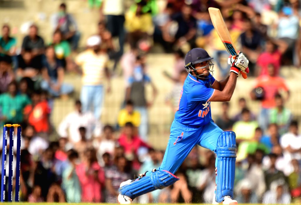 India `A` player in action during the ``India A Team Triangular Series`` against South Africa `A` in Chennai on Aug 9, 2015.