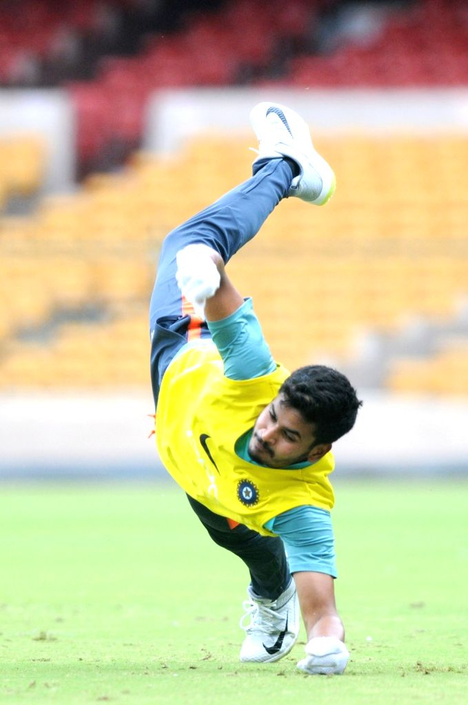 India A team captain Shreyas Iyer during a practice session ahead of a four-day matches against South Africa A at M Chinnaswamy stadium, in Bengaluru, on  Aug 3, 2018 - Shreyas Iyer